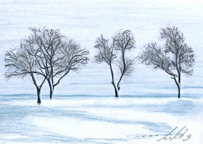 ACEO original pastel drawing landscape winter snow tree by Anna Hoff