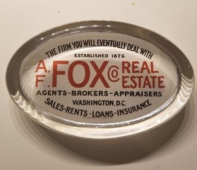 A. F. Fox Real Estate Glass Paperweight Washington, DC 1900