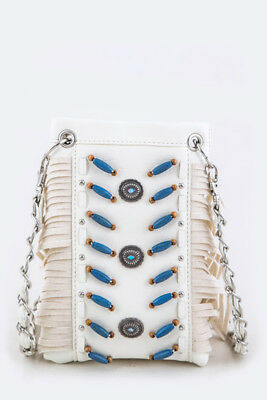 Ropes and Spurs Fringe Bead Cross-body Mini Bag (White)
