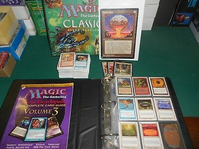 lot + 350 Carte Magic  Sixth Edition + 2 farde + encyclopedia  + jumbo Chaos Orb
