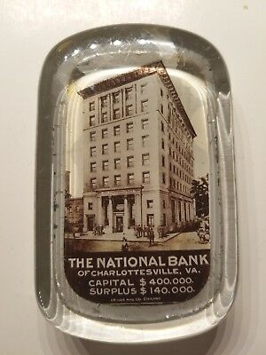 First National Bank of Charlottesville, Virginia Glass Paperweight c 1900