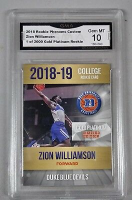 $100 - 2018-19 Zion Williamson FIRST EVER COLLEGE Gold Platinum RC Gem Mint 10