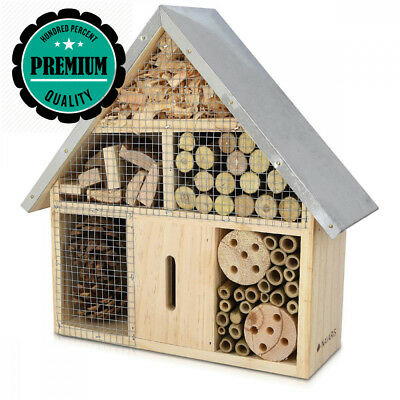 Navaris M Wooden Insect Hotel - 24.5 x 28 x 7.5 cm - Natural Wood House -...
