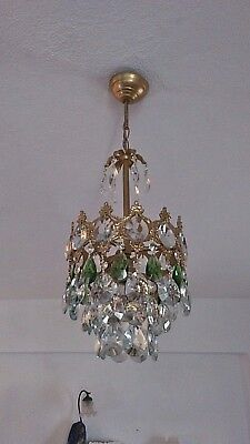 Antique Vintage Ceiling Light Fixture Brass Green Crystal Chandelier Light Lamp