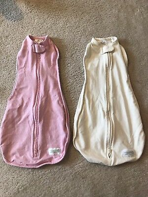 Woombie Lot 2 Swaddle 0-3 Months Pink And White VGUC