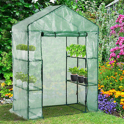 Outsunny Portable Garden Flower Stand Walk-in Plant Greenhouse 2 Tier