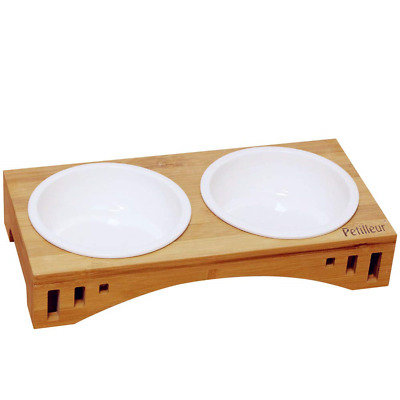 Petilleur Wooden Pet Bowls Ceramic Raised Dog with Bamboo Stand for Cats and...