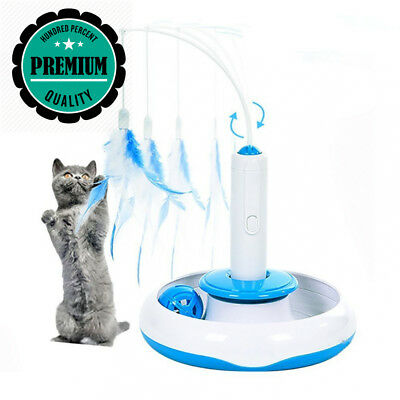 HomeYoo Electric Cat Interactive Toy, Rotate Feather Toys Teaser Motion...