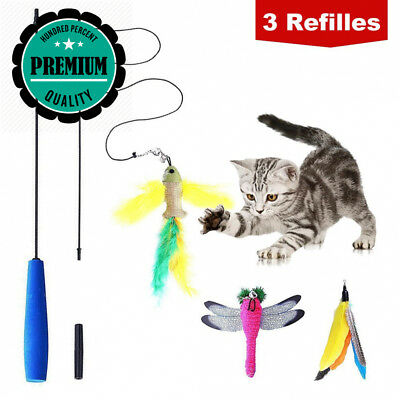 BINGPET Cat Teaser Toy Feather Wand Interactive - (Includes 3x Refills) for...