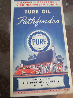 Vintage Pure Oil Map  Delaware Maryland Virginia &West Virginia - Free Shipping