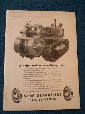 Cletrac, Cleveland Tractors in New Departure Bearings 1929 Ad: Haag Hoist Pic