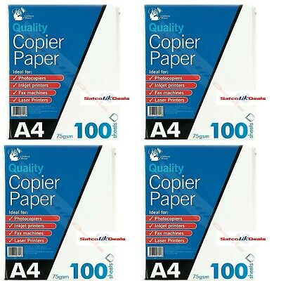 A4 Paper 100 Sheets Bright White COPIER PRINTER Office Home Copy Printing 75 GSM