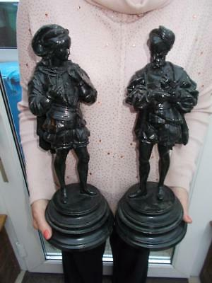 Pair Painted Spelter Figures Of Artist And Sculptor Wooden Bases