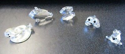 5 Lead Crystal Ornaments Inc Oyster Shell, Frog & Whale - A2  *Collection 3*