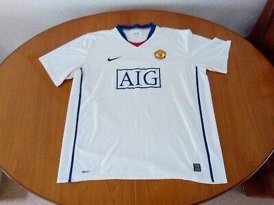 Manchester United Away Shirt 2008 2009 Nike Aig White Blue Man U Utd