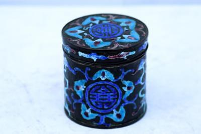 Chinese enamel Tea Caddy box  with Bats Fungus Good Luck Symbol