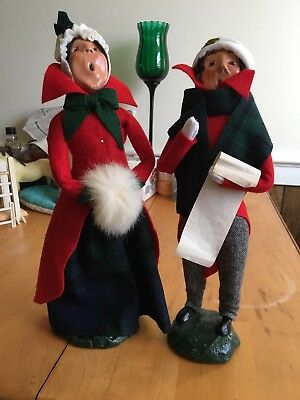 Vintage 1981 Byers Choice Music Man & Woman Christmas Carolers Signed