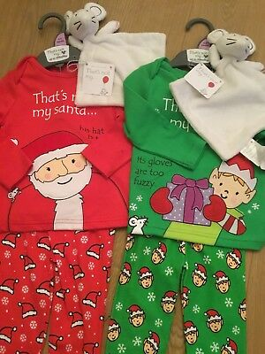 Mothercare That's Not My SANTA & ELF Christmas Pyjamas & Comforter's 6-9 Months