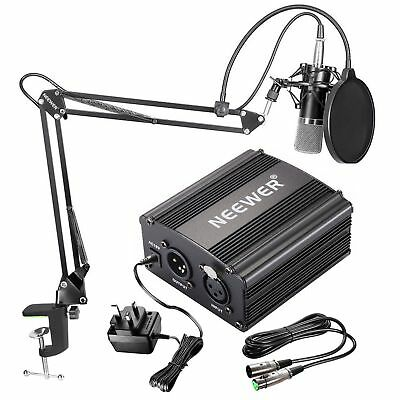Neewer NW-700 Condenser Microphone Kit Black Mic, 48V Phantom Power Supply NEW