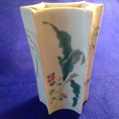 Chinese Antique Qing Dynasty 18th Century Famille Rose Porcelain Orchid Vase