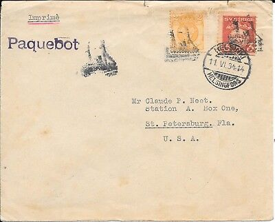 Finland Illustrated Paquebot Cancel, Helsinki 1934 Ship Design On Cover..