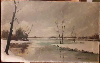 Fine Quality French Oil By Charles Cuzin - Wintery Landscape With Lake & Trees