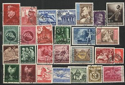 Germany Third Reich Stamp lot - Used VG/F Hitler Heads, semi postals, Feldpost