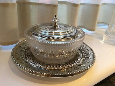 Lovely Victorian Benetfink & Co Silver Plated And Glass Butter Dish Circa 1878