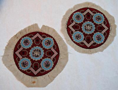 Pair Fine 19Th Century Victorian Beadwork Foot Stool Embroidered Tapestry Tops