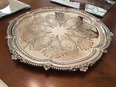 Beautiful Antique Victorian John Nodder Silver Plated Chased Footed Drinks Tray