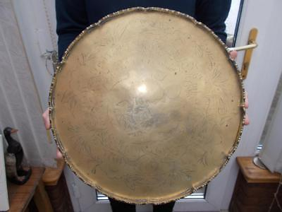 Large Vintage Early 20Th Century Engraved Chinese Brass Tray Or Charger