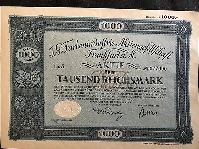 1925 GERMAN Stock Certificate - Issued. 1000 Reichmark.
