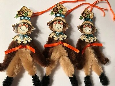Chenille Thanksgiving ornaments, vintage SCARECROW, feather tree ornaments, tags