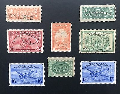 Canada 1876-1942 Registration and Special Delivery Stamps. Some Hard to Find.
