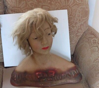 Vintage LAMOUREUX BUST MANNEQUIN  COUNTER STORE DISPLAY