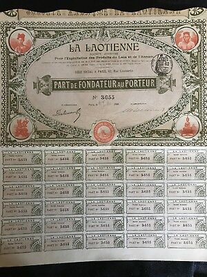 1900 Foreign Bond With Coupons - LAOS -
