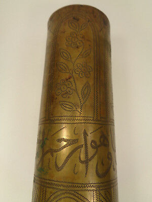 WWI Trench Art Shell Fried Krupp A.G. 1916 Germany Etched In Arabic.