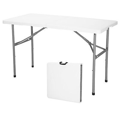 4' Portable Centerfold Folding Table Indoor Outdoor Camp Party Picnic Plastic