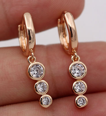 18K Gold Filled - White Topaz Circle Round String Pageant Women Hoop Earrings