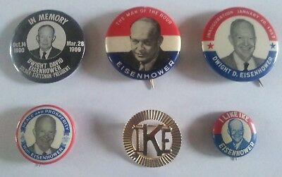 Lot Of 6 Vintage Dwight D. Eisenhower Ike Political Campaign Buttons,ww2 General