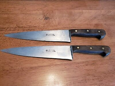 Two ED. WUSTHOF VINTAGE 147-8 CHEF KNIVES GERMANY