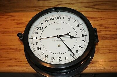 Vintage CHELSEA U.S. Government  24 Hr. Ship WALL CLOCK Boston Bakelite Case Key