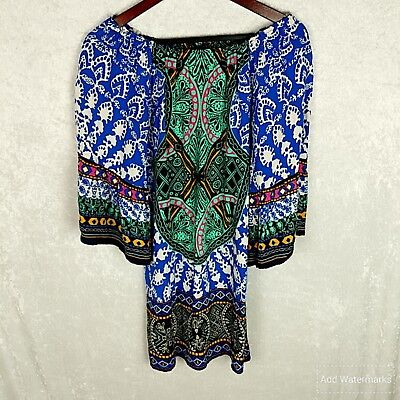 7d92a55d3a3 Flying Tomato size Small blue boho bell sleeves dress blue multicolor womens