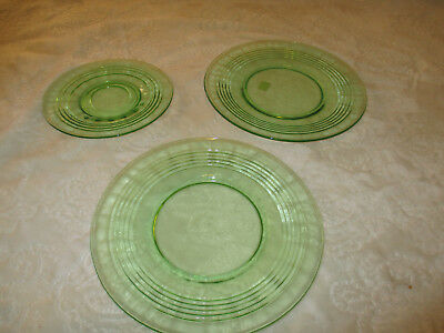 Collectible~Anchor Hocking~Circle Green~Lot of 3~Sandwich Plates~Bread Plate