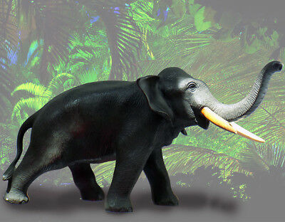 Vintage Japanese Signed Figural Nice Detailed Elephant Sculpture with faux Tusks