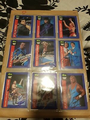 Wwe/wwf signed and autographed cards x9 undertaker,macho man,Mr perfect,bossman