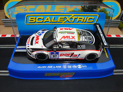 Boxed Scalextric Club Car Audi R8 Lms Ref C3232 With Lights And Dpr