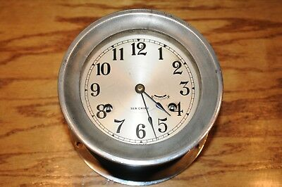 Vintage Sea-Chime 8 Day Ships Bell Clock Key Wind Maritime Working Swiss Made.