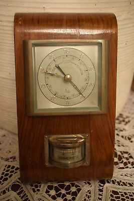 Wetterstation in Holz Lufft 2-teilig Thermometer Barometer