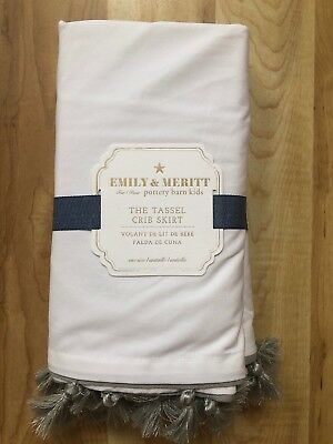 Pottery Barn Kids Emily & Meritt The Tassel Crib Bed Skirt Nursery White  $99